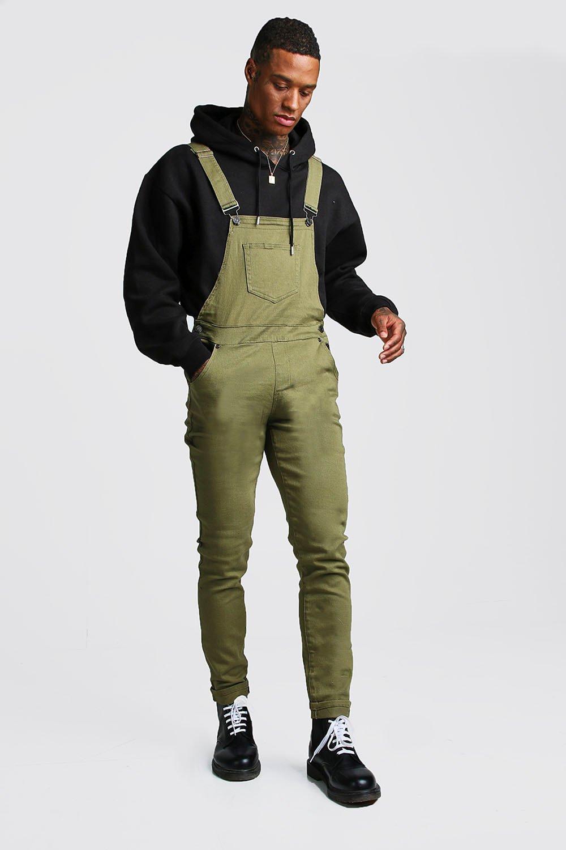 clear-cut texture great discount online shop Khaki Slim Fit Denim Dungarees | Boohoo