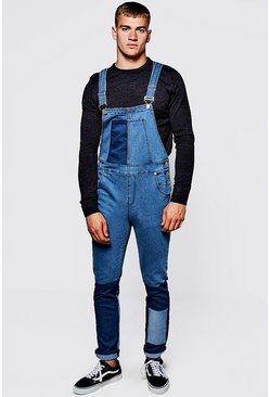 Mens Mid Blue Slim Fit Patchwork Denim Dungarees