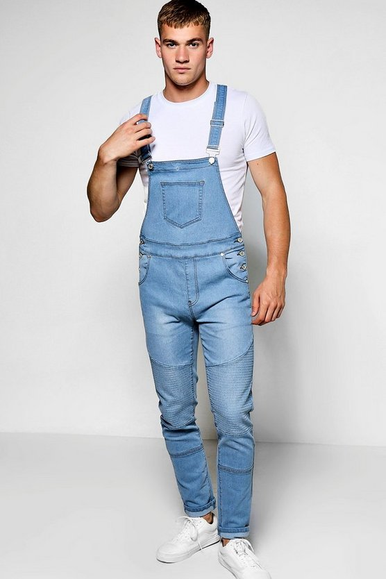 Pale Blue Slim Fit Denim Biker Dungarees