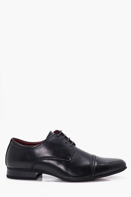 Black Smart Lace Up Shoes With Toe Cap