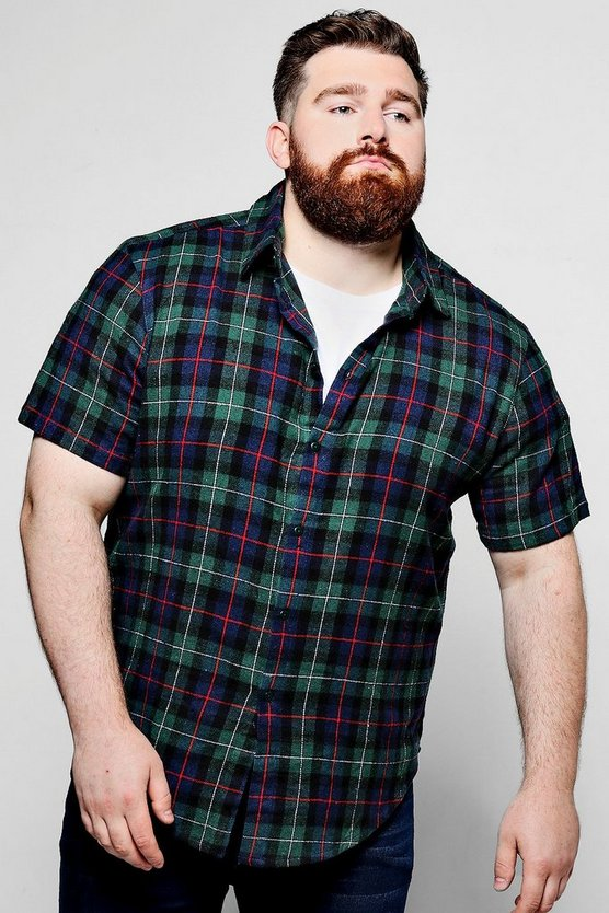 Big And Tall Green Short Sleeve Check Shirt