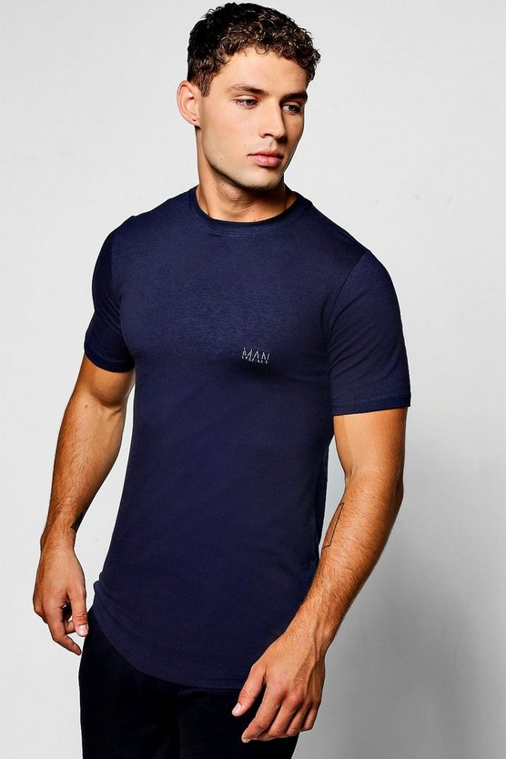 Mens Navy Longline Muscle Fit T-Shirt With Logo