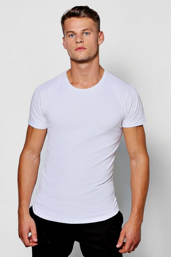 Longline Muscle Fit T-Shirt With MAN Logo