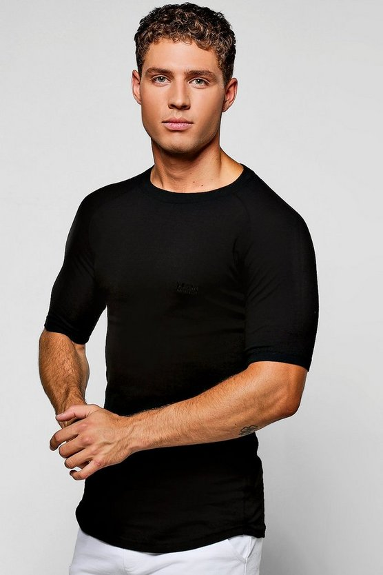 Mens Black Raglan Muscle Fit MAN Tee With Curve Hem