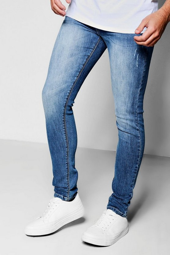 Mid Blue Jeans in Spray on Skinny Fit