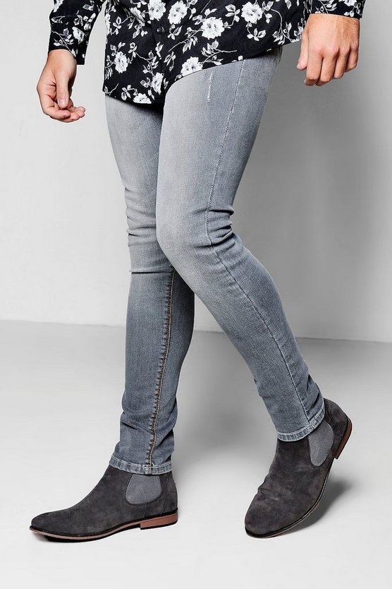 Grey Cropped Jeans in Spray on Skinny Fit