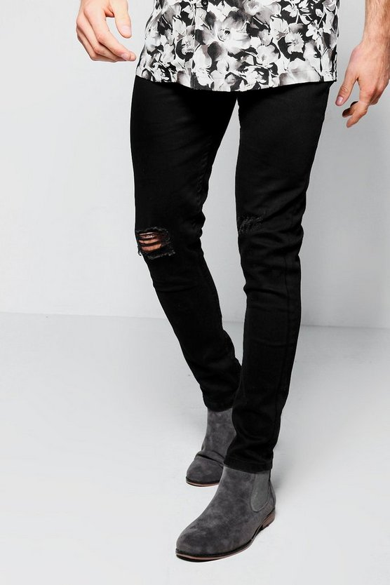 Black Ripped Knee Jeans in Spray On Skinny Fit