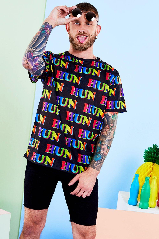 0138a8289974e Mens Black BoohooMAN x Philip Normal HUN Print T Shirt. Hover to zoom