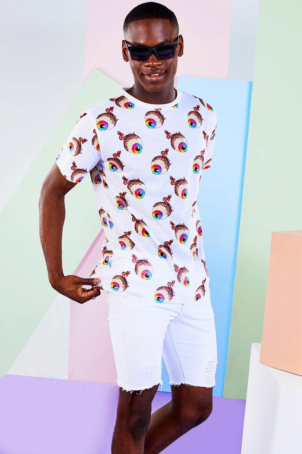 67ac330c BoohooMAN x Philip Normal Eyeball Print T Shirt | Boohoo