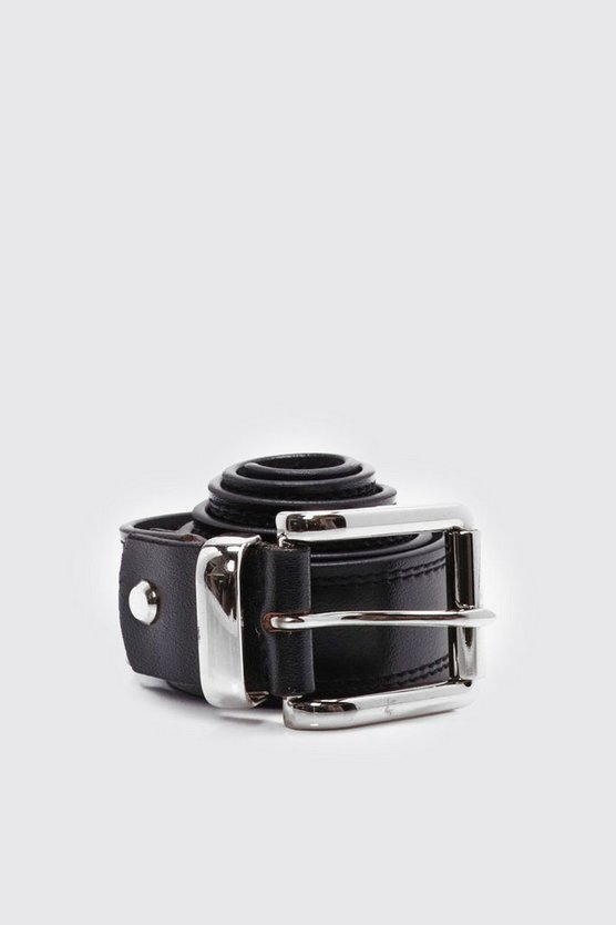 Mens Black Black Real Leather Belt