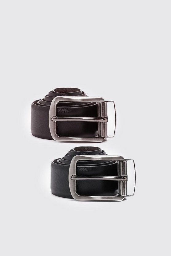 Mens Multi Real Leather Reversible Belt