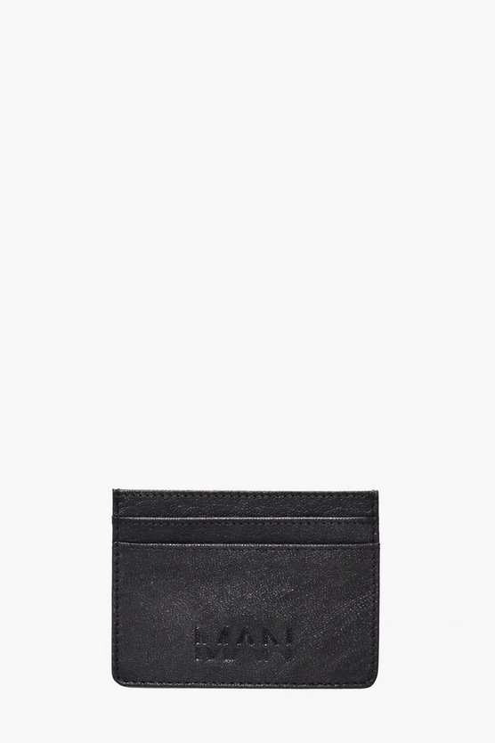 Mens Black Real Leather MAN Embossed Card Holder