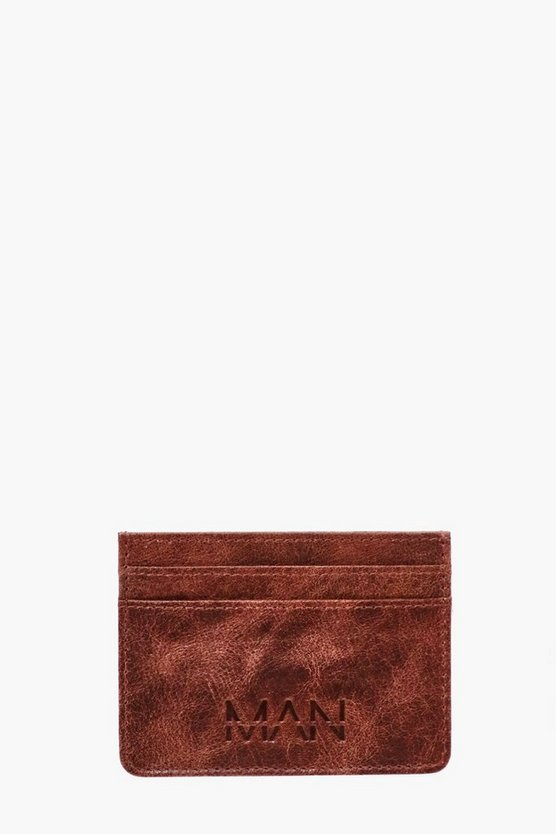 Mens Brown Real Leather MAN Embossed Card Holder