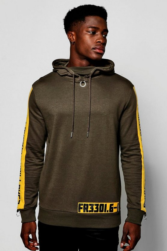 Mens Khaki Overhead Hoodie With Side Print