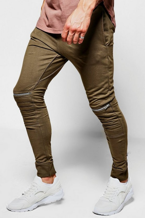 French Terry Skinny Zip Biker Jogger