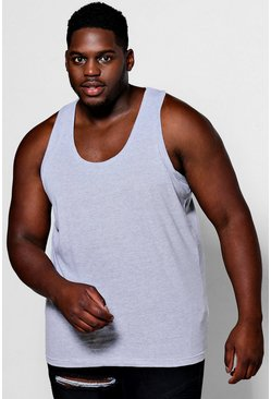 Big And Tall Basic Vest, Grey, Uomo