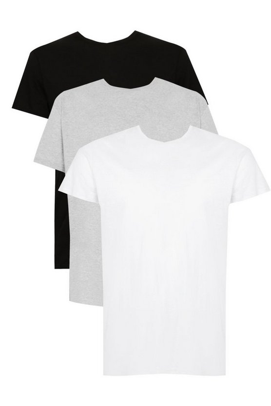 Big and tall lot de 3 t-shirts col ras du cou basiques