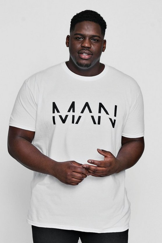 Mens White Big And Tall Large Dash MAN Print T-Shirt