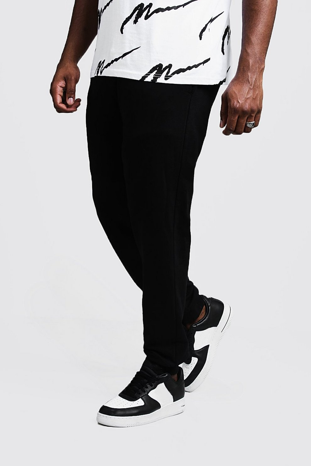 37aac882199423 Mens Black Big And Tall Boohoo Man Joggers