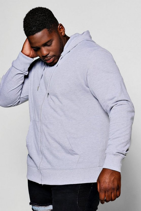 Big And Tall Basic Zip Through Hoodie