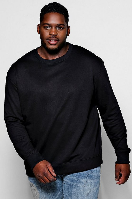Mens Black Big And Tall Basic Crew Neck Sweatshirt