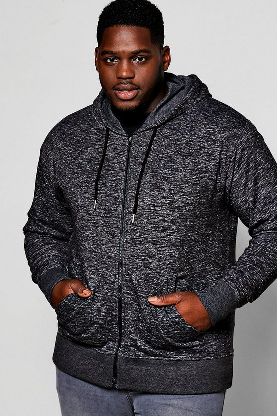 Big And Tall Space Dye Zip Through Hoodie