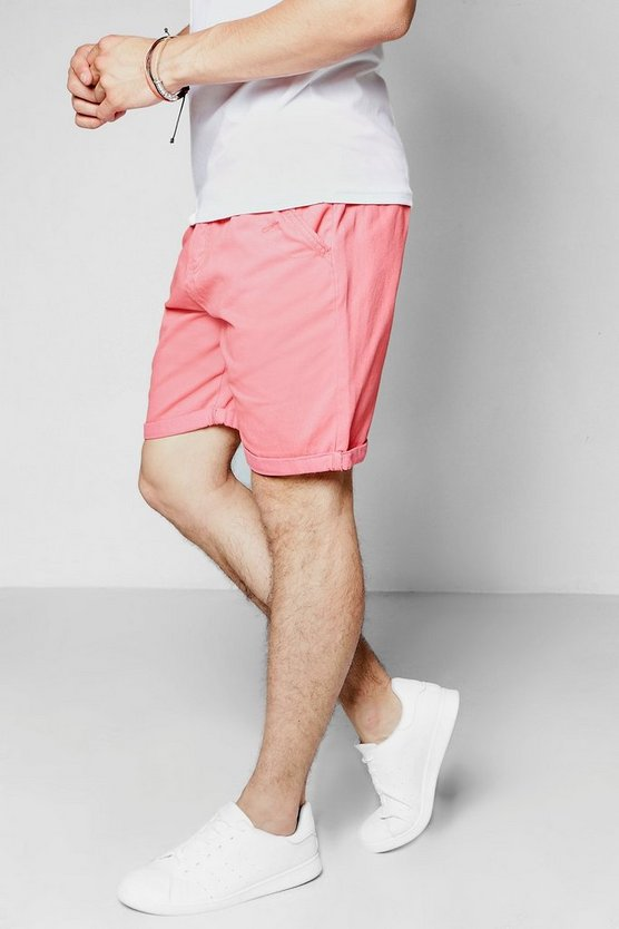 Coral Plain Chino Shorts