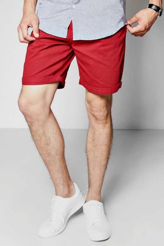 Red Plain Chino Shorts