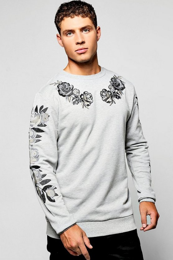 Red Rose Embroidered Sweater
