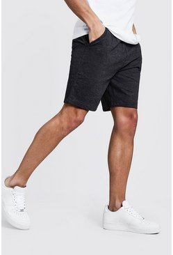 Basic Mid Length Jersey Shorts, Charcoal