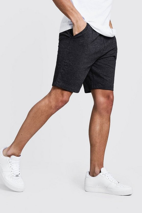 Mens Charcoal Basic Mid Length Jersey Shorts