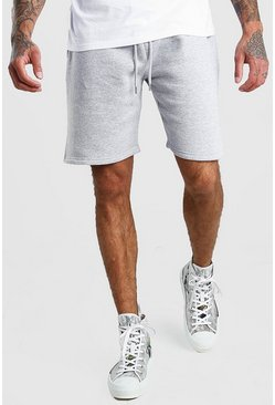 Mens Grey marl Basic Mid Length Jersey Shorts