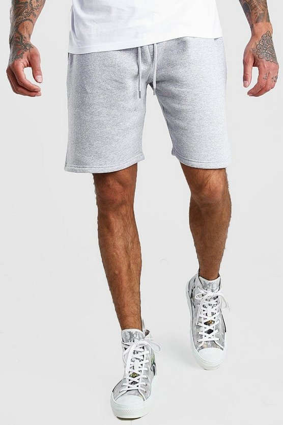 Short mi-long basique en jersey, Gris chiné, Homme
