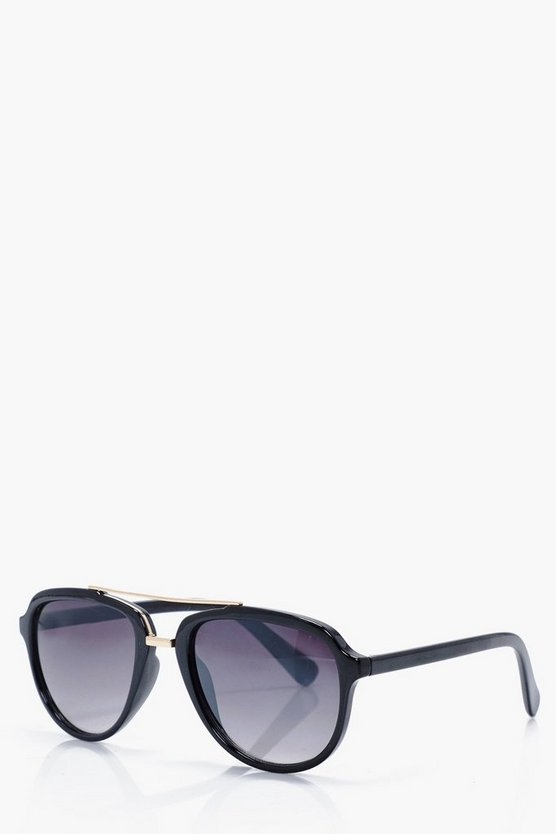 Black + Gold Aviator Sunglasses