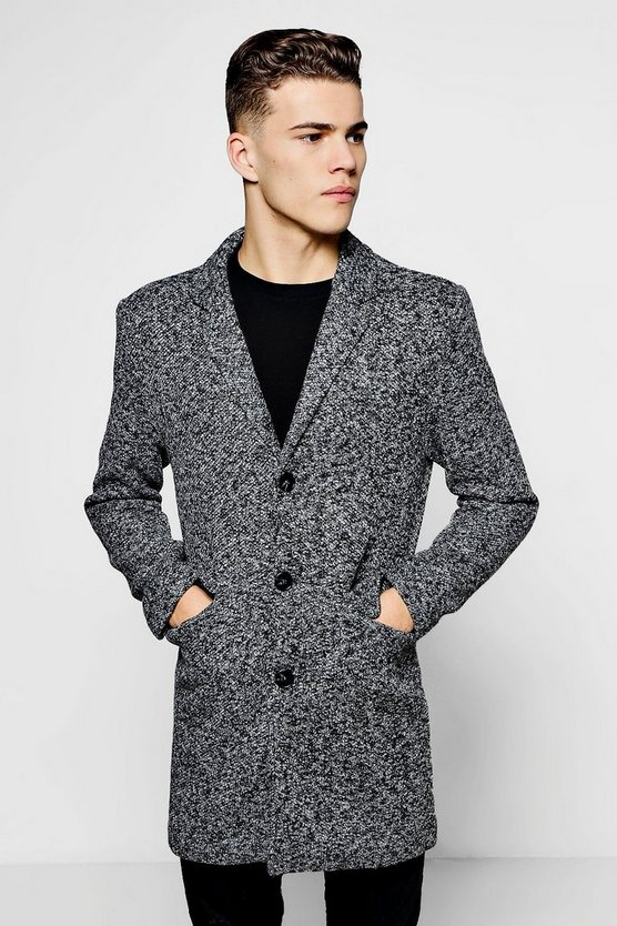 Grey Single Breasted Textured Overcoat