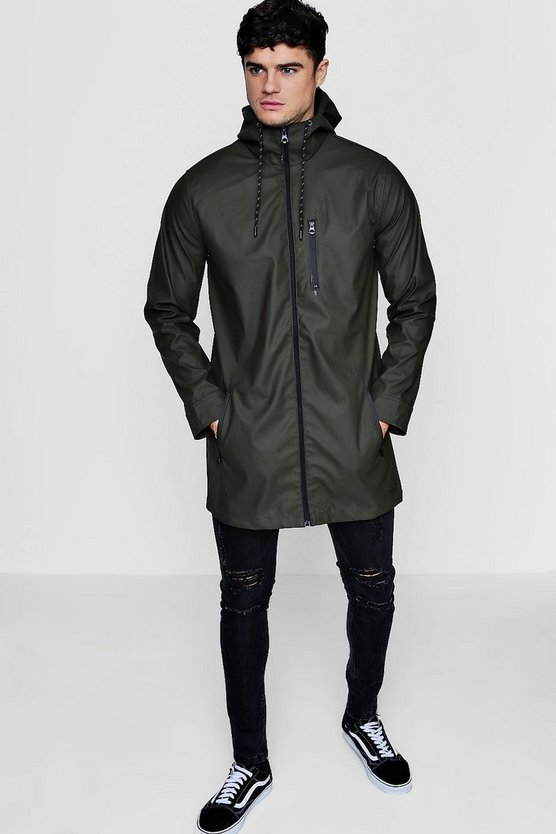 Khaki Zip Through Rubberised Hooded Mac