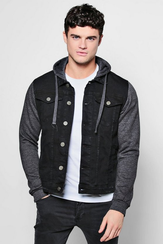 Denim Jacket With Jersey Hood and Sleeves