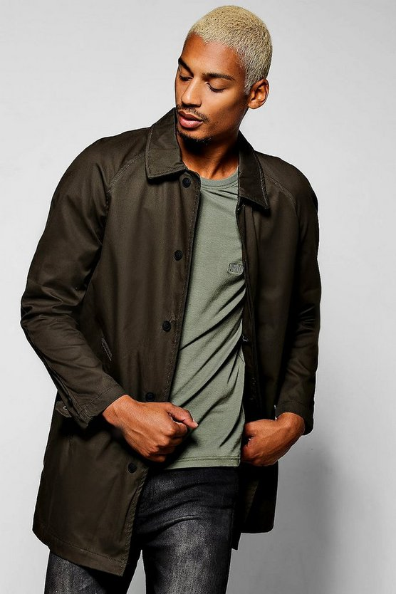 Mens Khaki Single Breasted Button Through Cotton Mac