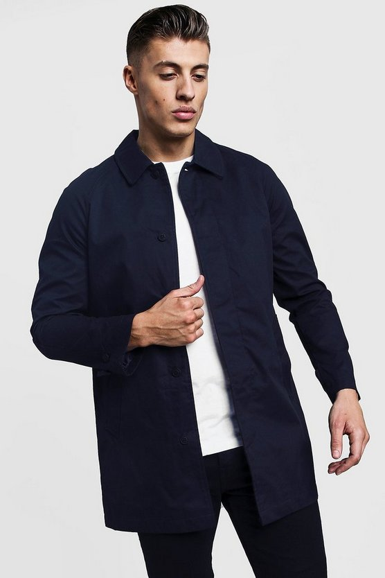 Navy Single Breasted Button Through Cotton Mac