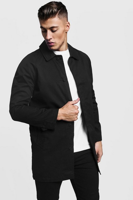Black Single Breasted Button Through Cotton Mac