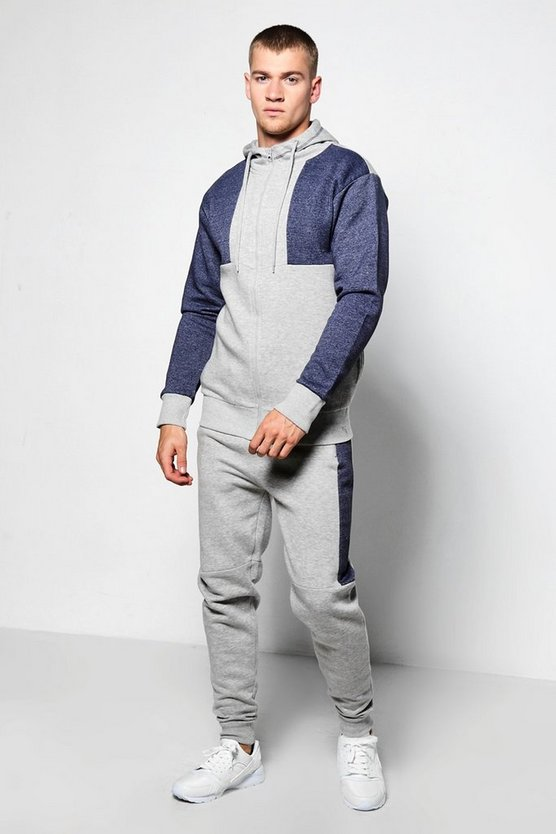 Skinny Fit Hooded Panel Tracksuit