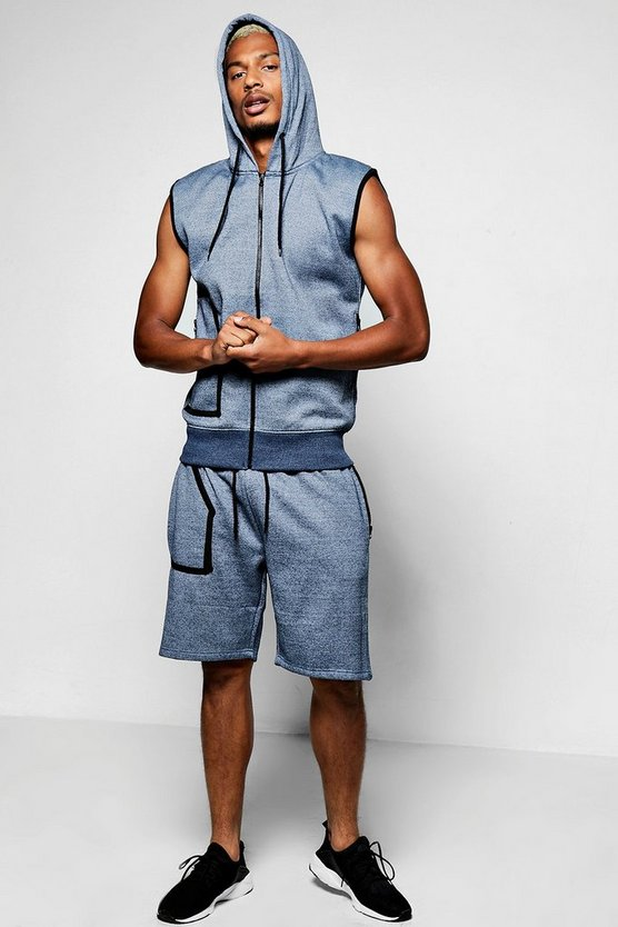 Mens Navy Sleeveless Hooded Short Set With Piping