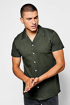 1940s Style Mens Shirts Short Sleeve Revere Collar Jersey Shirt $18.00 AT vintagedancer.com