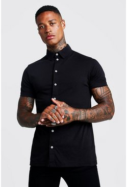 Mens Black Short Sleeve Jersey Shirt