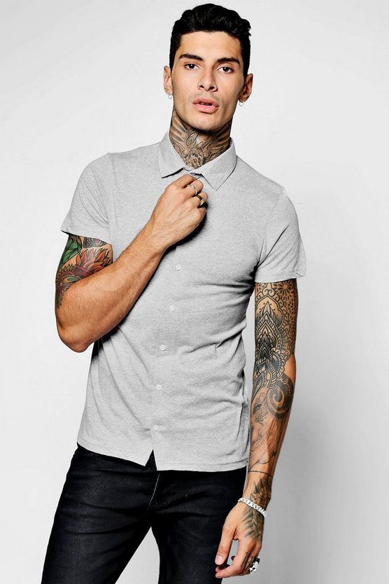 Mens Grey Short Sleeve Jersey Shirt