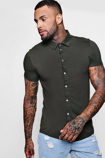 Mens Khaki Short Sleeve Jersey Shirt