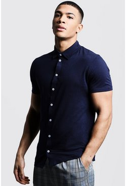 Mens Navy Short Sleeve Jersey Shirt