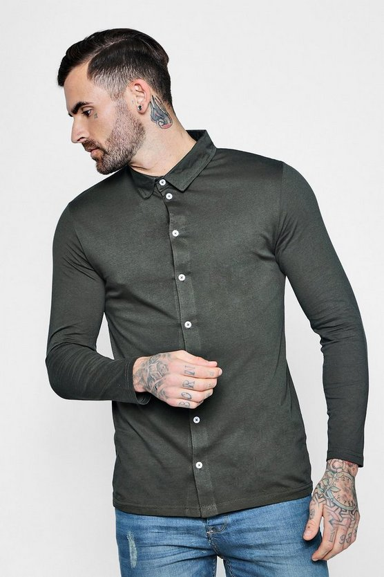 Khaki Long Sleeve Jersey Shirt