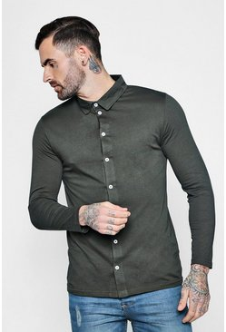 Mens Khaki Long Sleeve Jersey Shirt