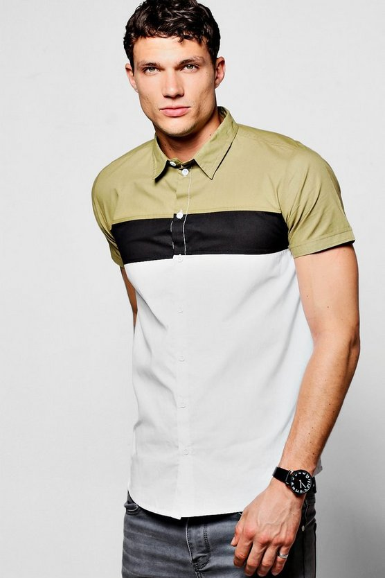Colour Block Chest Panel Short Sleeve Shirt